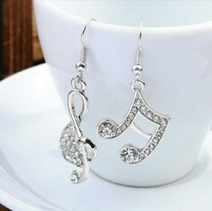 Jewelry - 🆕😎 Silver Crystal Music Note Clef Charm Earrings